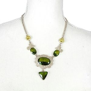 Jewelry - Silver Necklace with Green Crystals